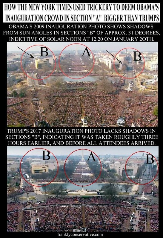 media manipulated aerial image of trump's inauguration